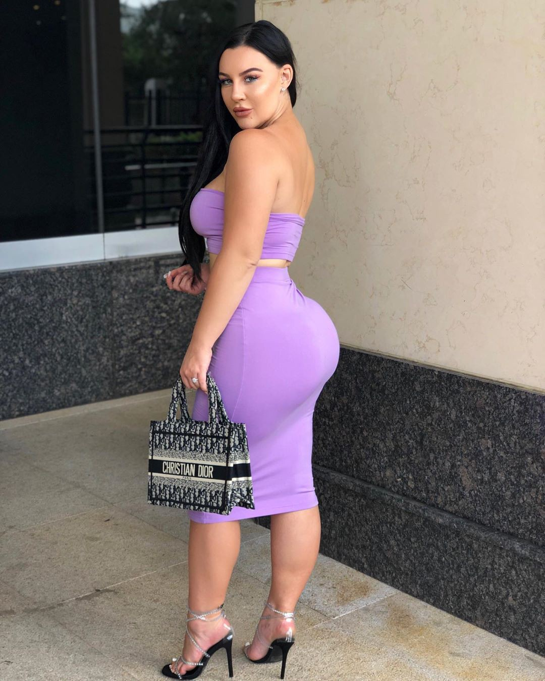 purple colour outfit, you must try with strapless dress, cocktail dress