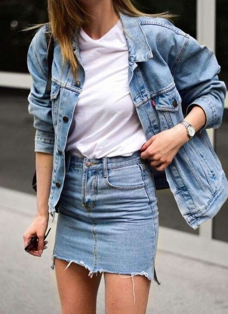 Outfit Stylevore denim outfit ideas, street fashion, denim skirt, jean jacket, jean short