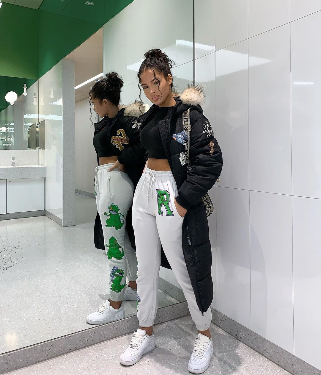 Green and white sportswear, trousers, jacket