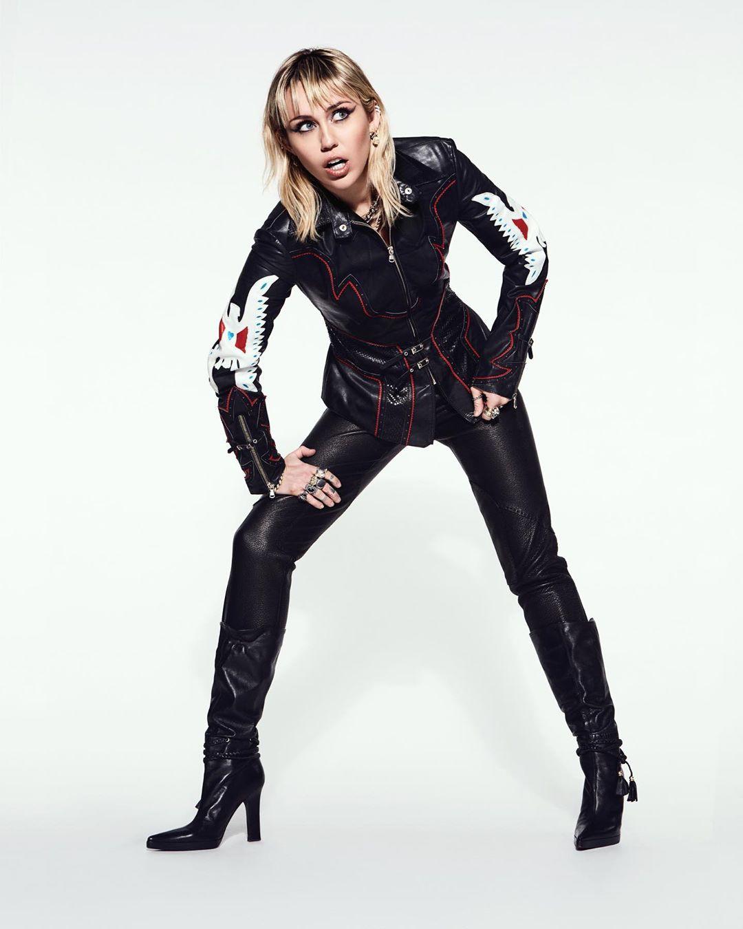 mileycyrus latex clothing, leggings, leather matching dress