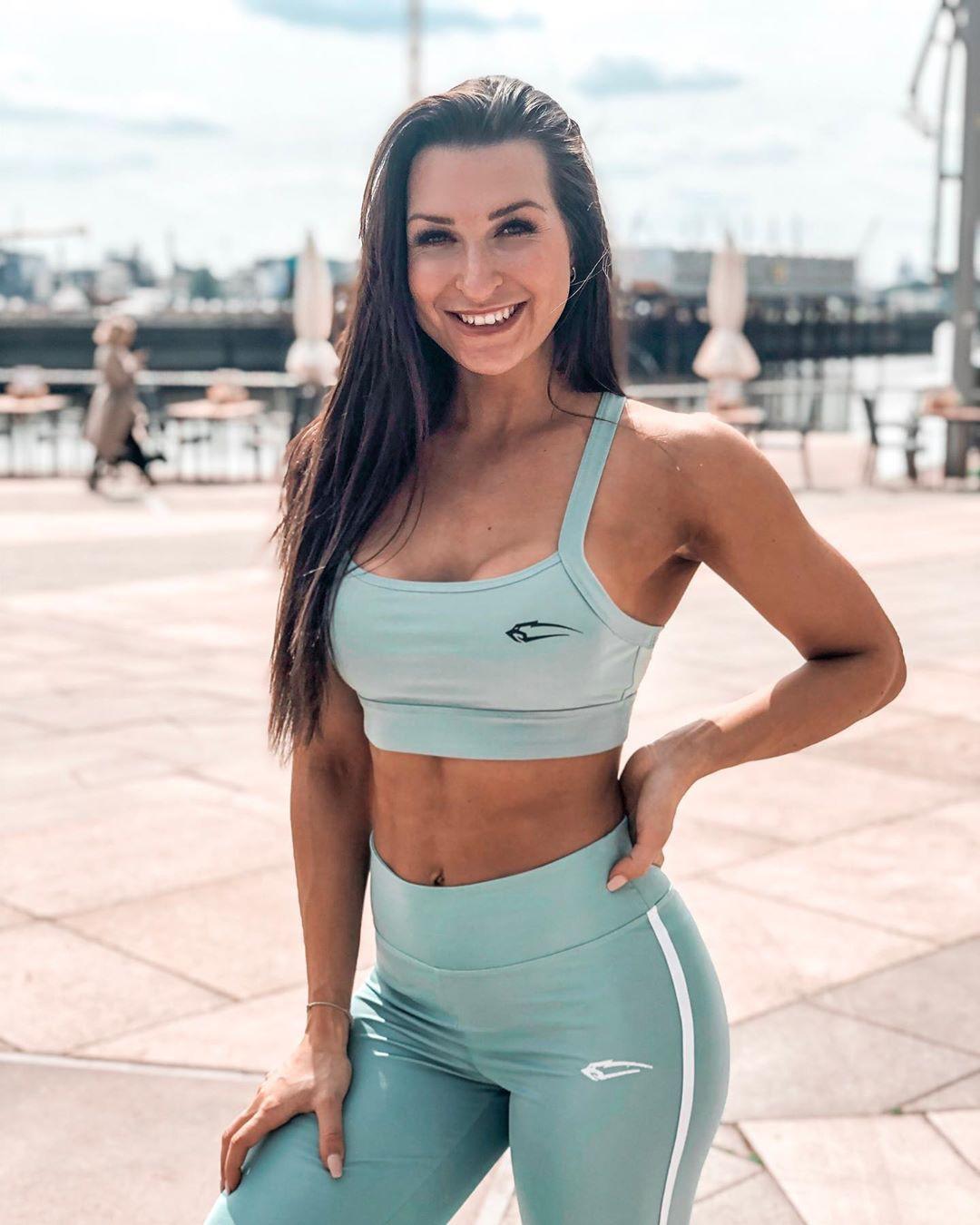 Eva Saischegg hot photo, undergarment active pants, sportswear matching dress