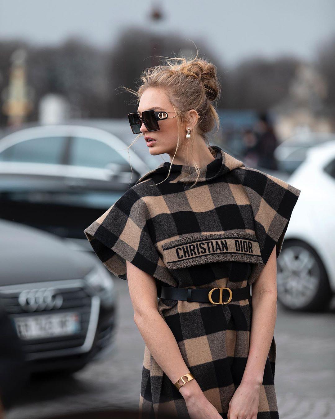 Romee Strijd tartan outfits for girls, eyewear, outfit ideas