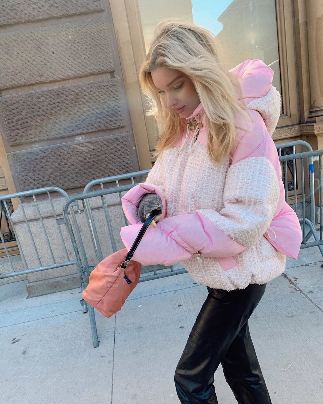 pink outfits for girls with fur jacket, fur, legs photo