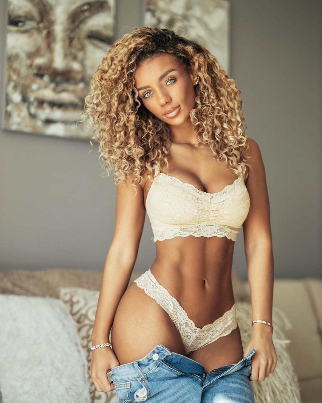Jena Frumes lingerie outfits for women, photoshoot poses, female thighs