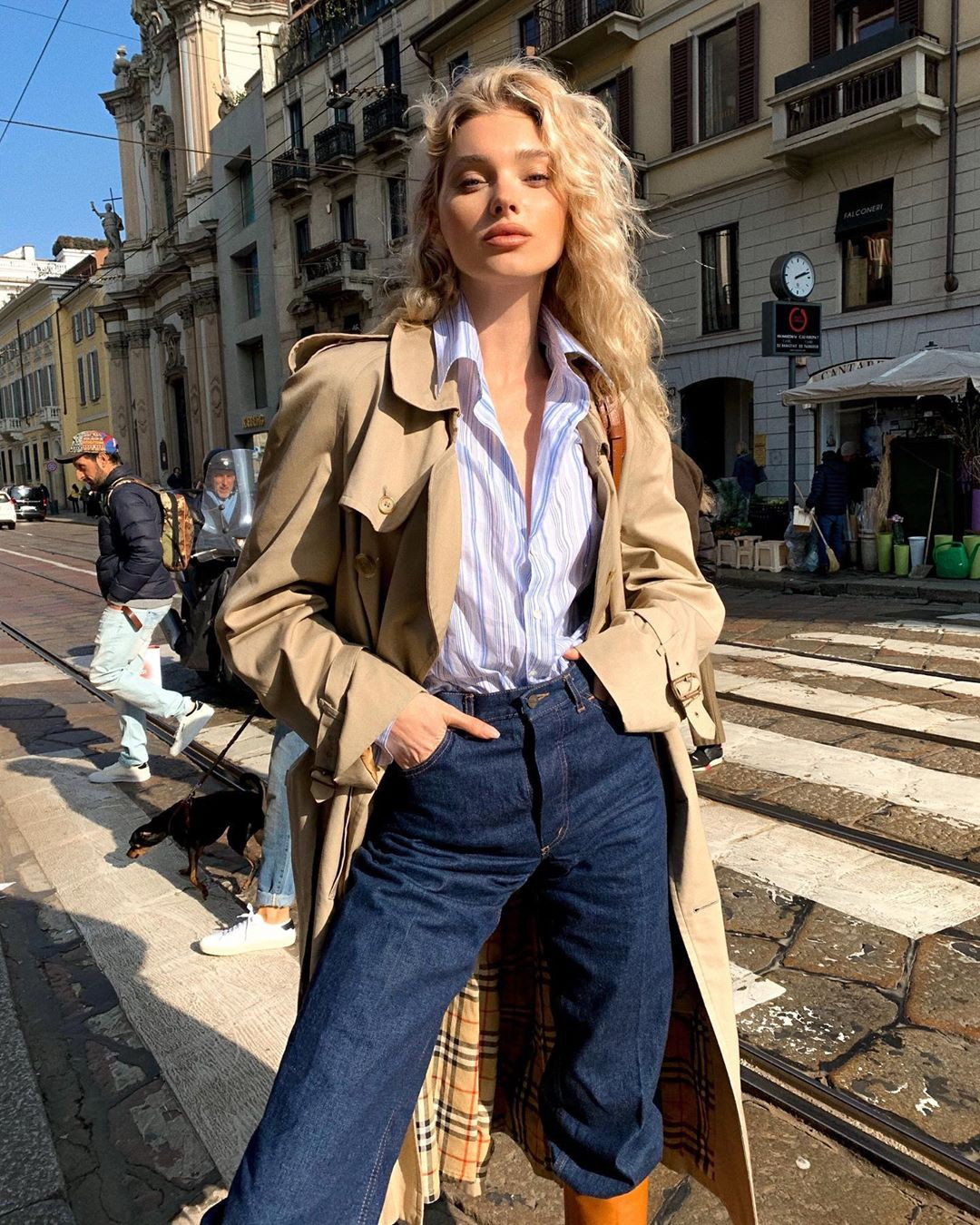 Elsa Hosk trench coat, denim, jeans outfits for women