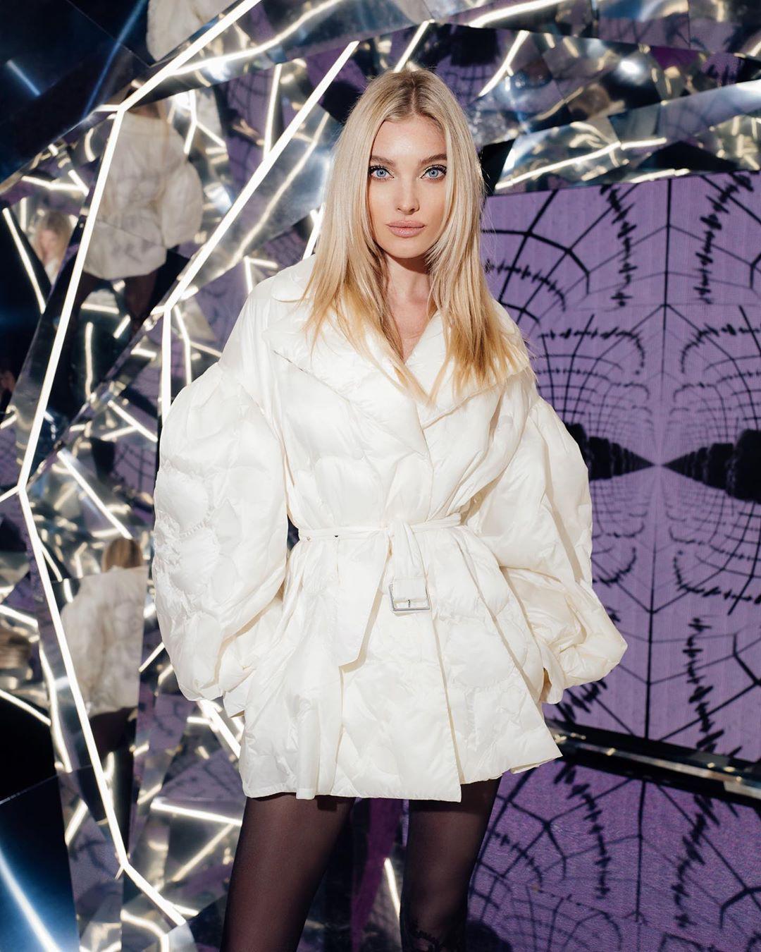 Elsa Hosk coat style outfit, natural blong hairs, Long Hair Girl