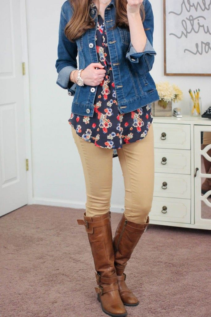 Brown and blue clothing ideas with jean jacket, leggings, jacket
