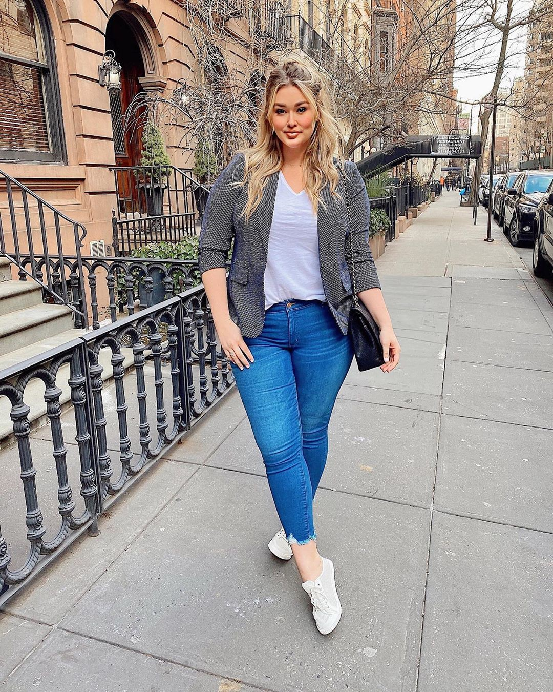 White and blue jacket, denim, jeans