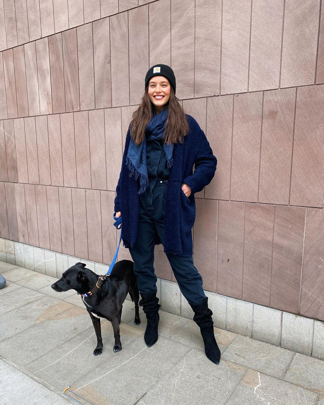 Emily DiDonato beanie, jeans, coat style outfit