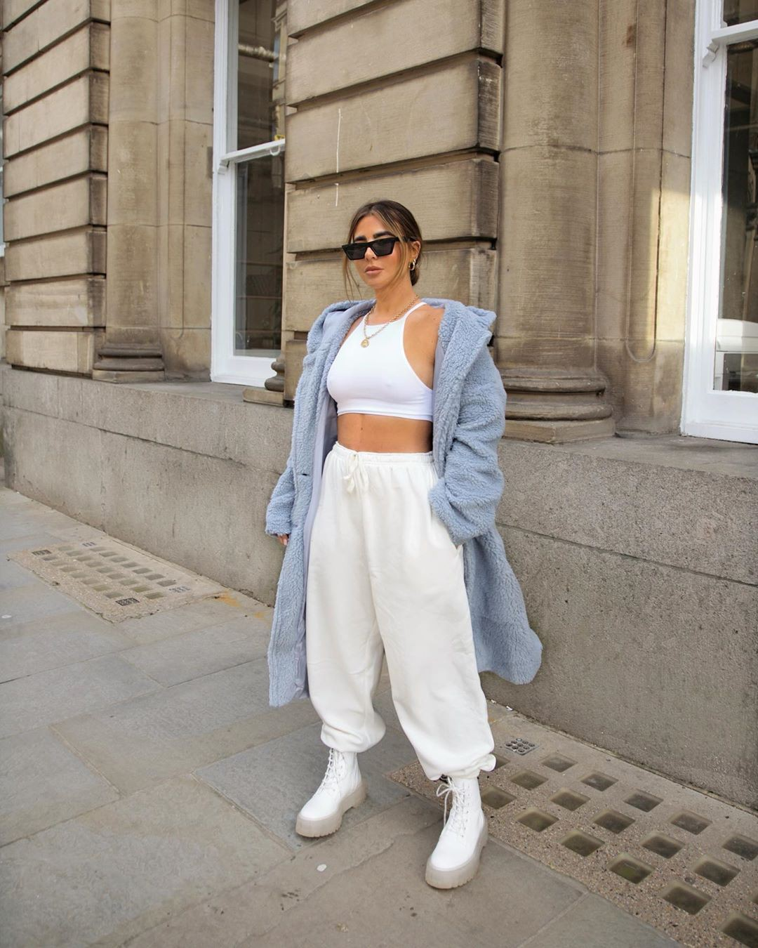 white clothing ideas with trousers, sunglasses, eyewear