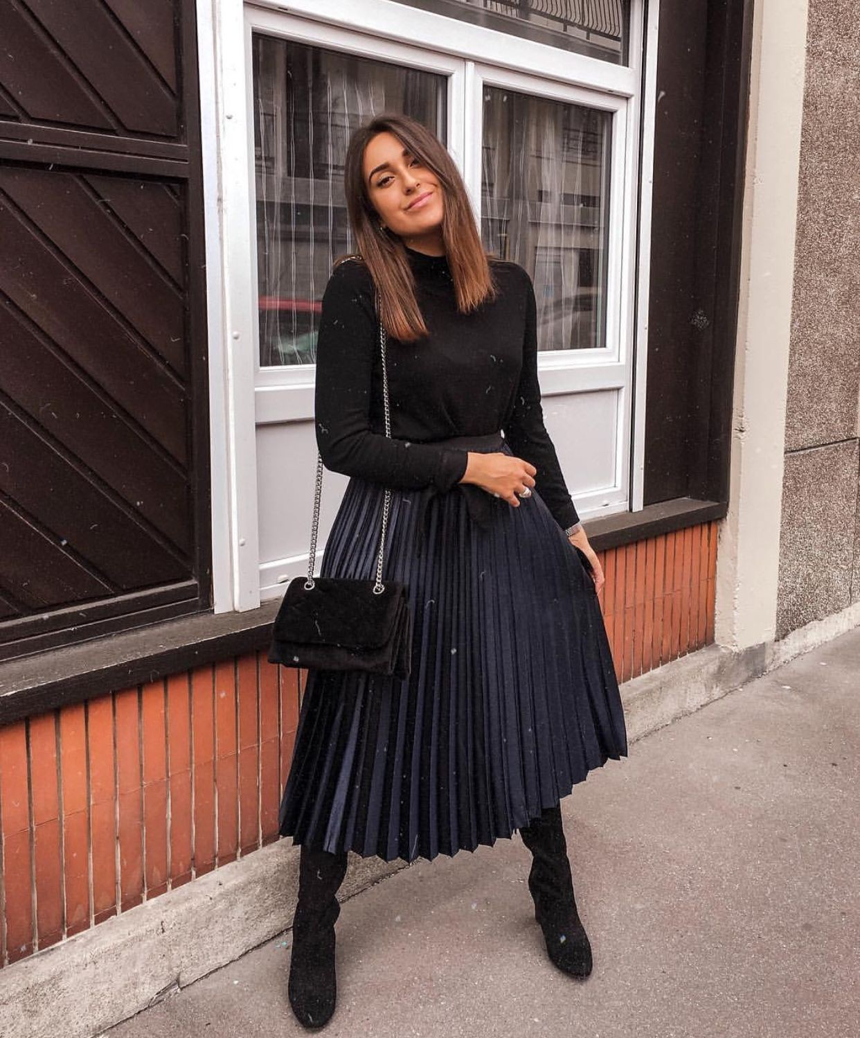Black pleated skirt outfit winter