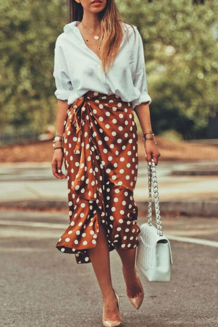Orange and brown instagram dress with dress polka dot, skirt, top