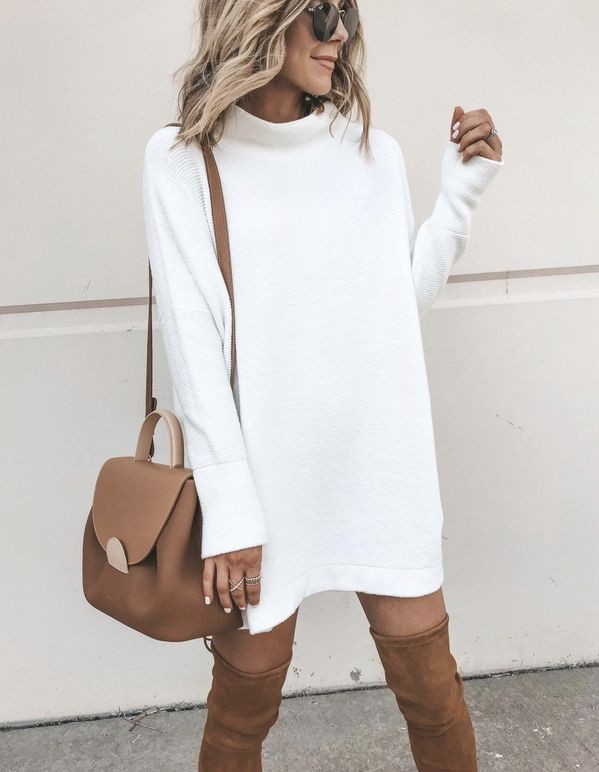 White outfit ideas with sheath dress
