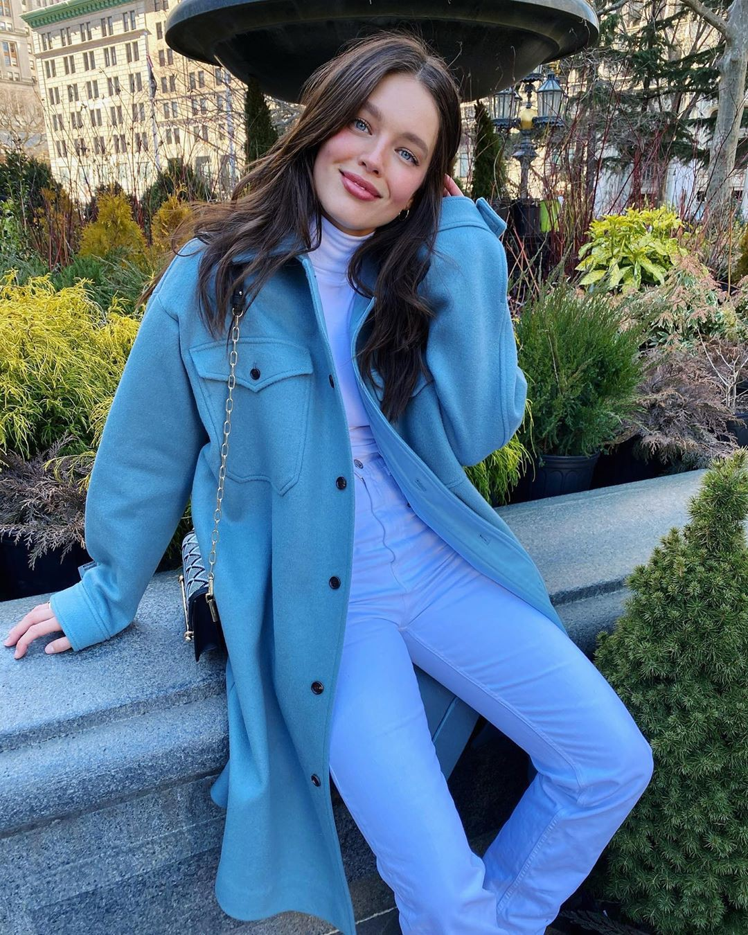 blue outfits for girls with trench coat, overcoat, denim