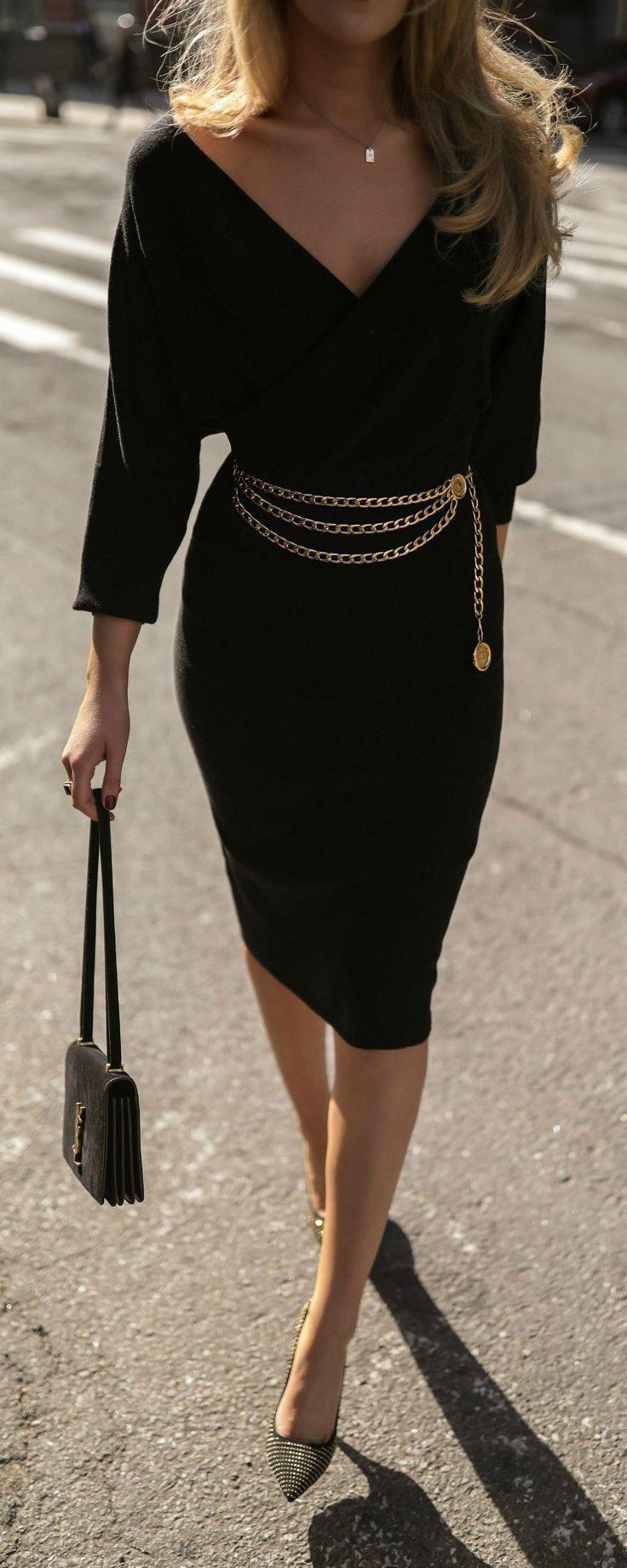Gold chain belt black dress