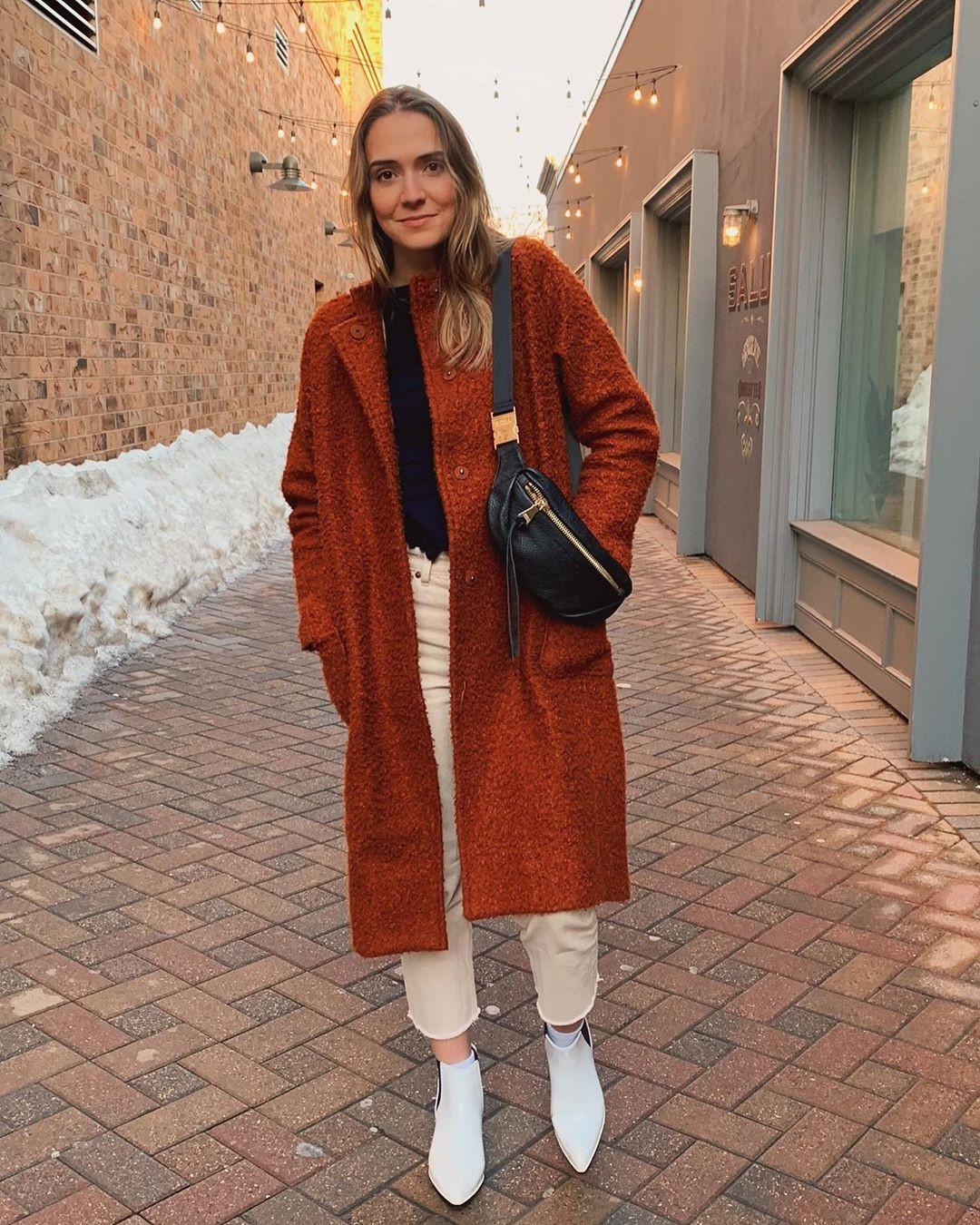 Orange and brown overcoat, coat, model photography