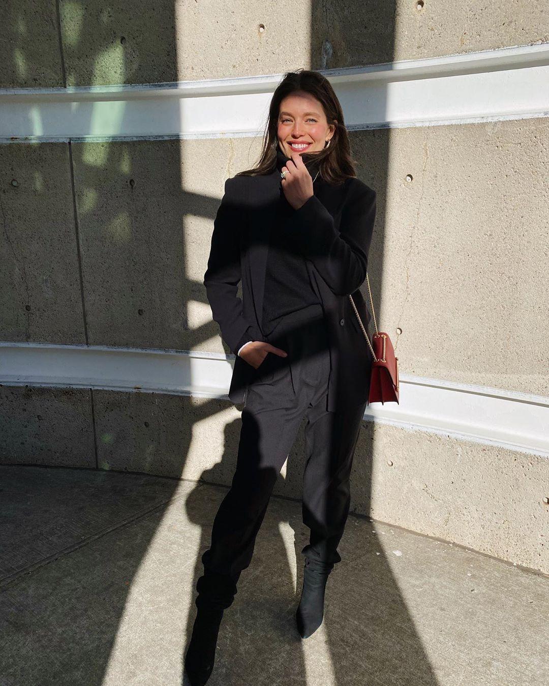 Emily DiDonato trench coat, tights, coat colour ideas