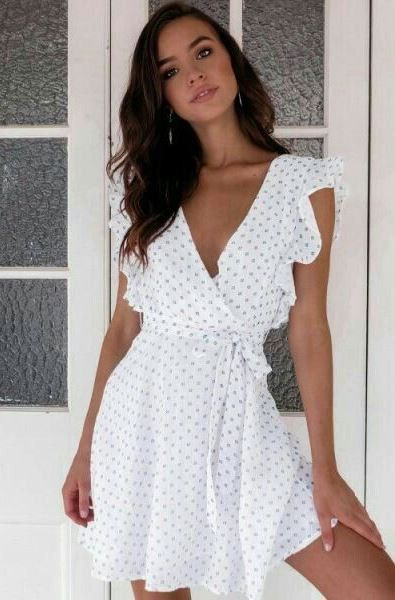 White outfit Stylevore with cocktail dress, wrap dress, dress
