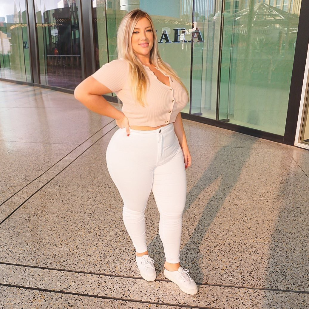 white classy outfit with sportswear, trousers, natural blong hairs