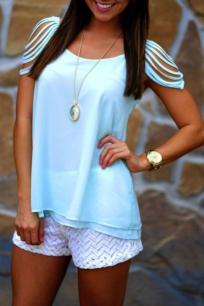 Turquoise and white colour outfit, you must try with blouse, shorts