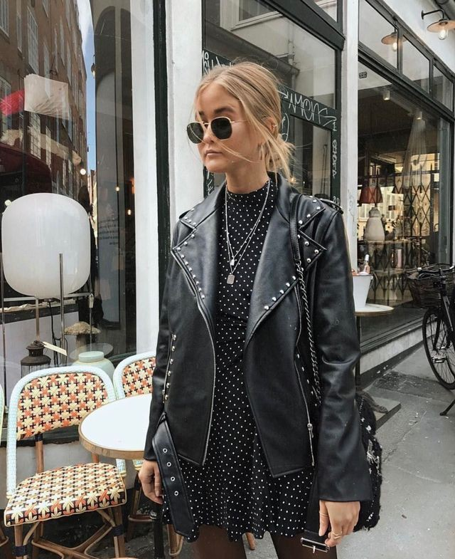 Polka dot dress with leather jacket