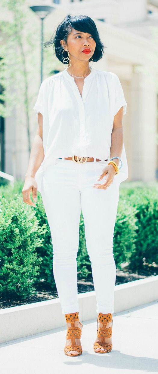 All white jeans outfit ideas