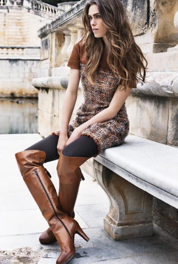Lookbook dress caroline biss boots thigh high boots, knee high boot