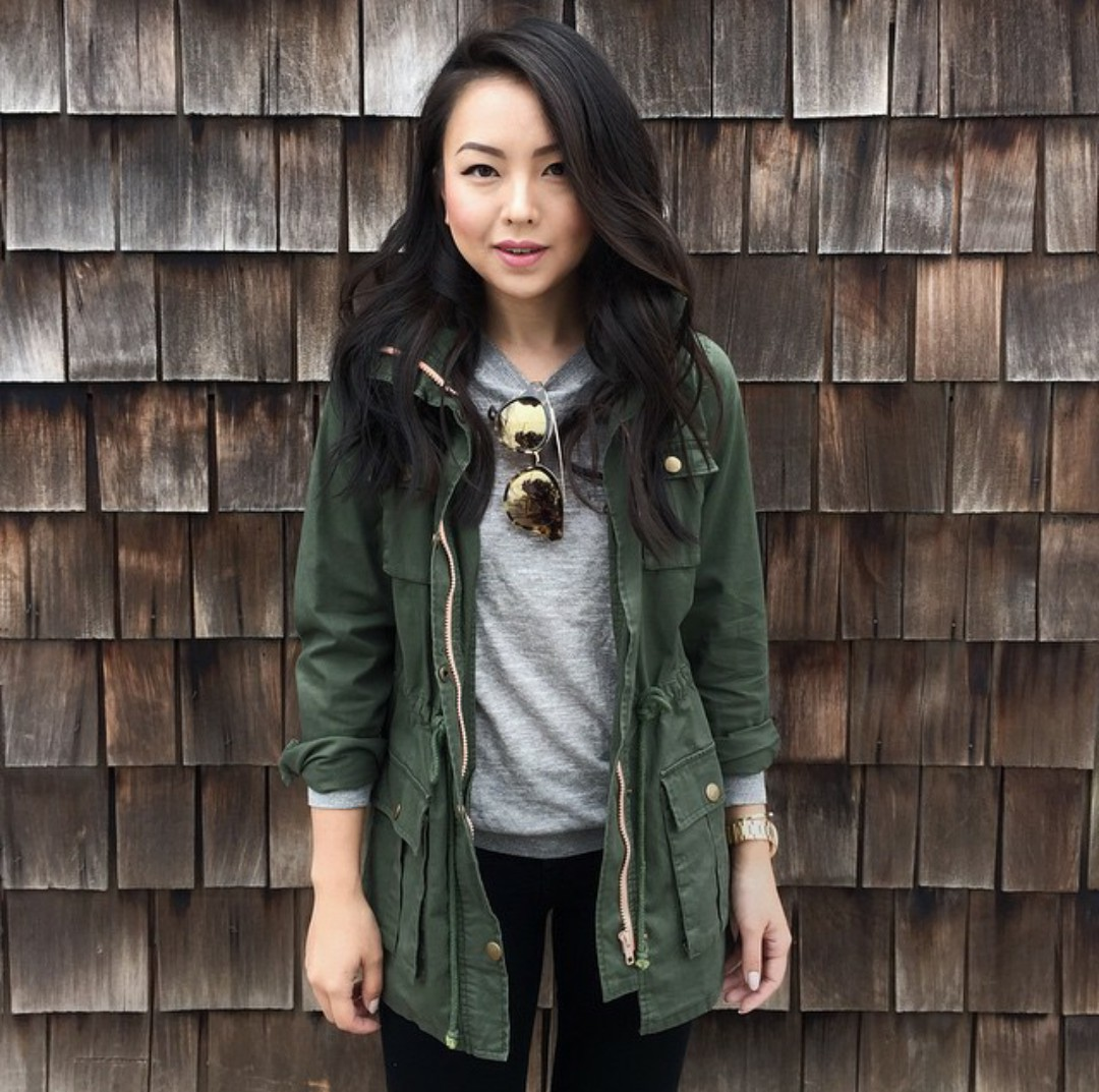 Green and khaki lookbook fashion with sweater, hoodie, jacket