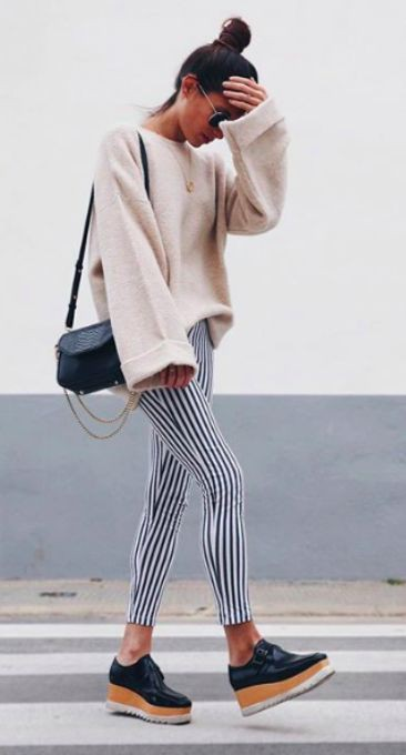 Striped pants outfit winter slim fit pants, winter clothing