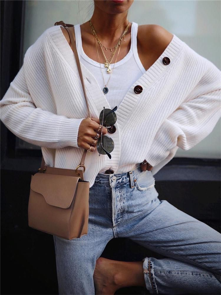 White trendy clothing ideas with sweater, jeans, top