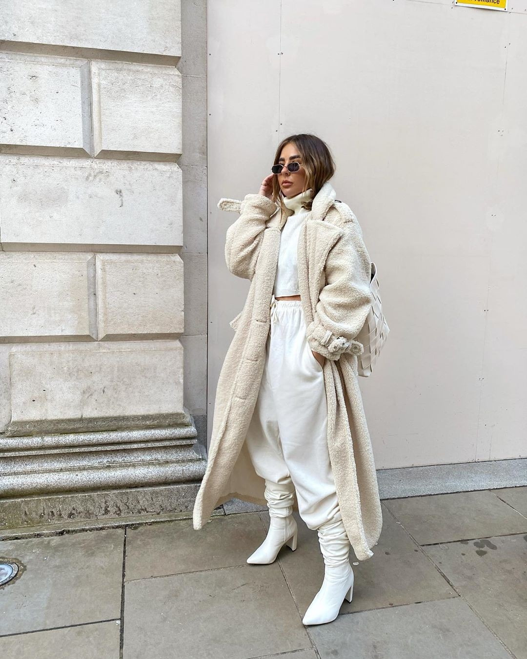 white classy outfit with trench coat, overcoat, coat