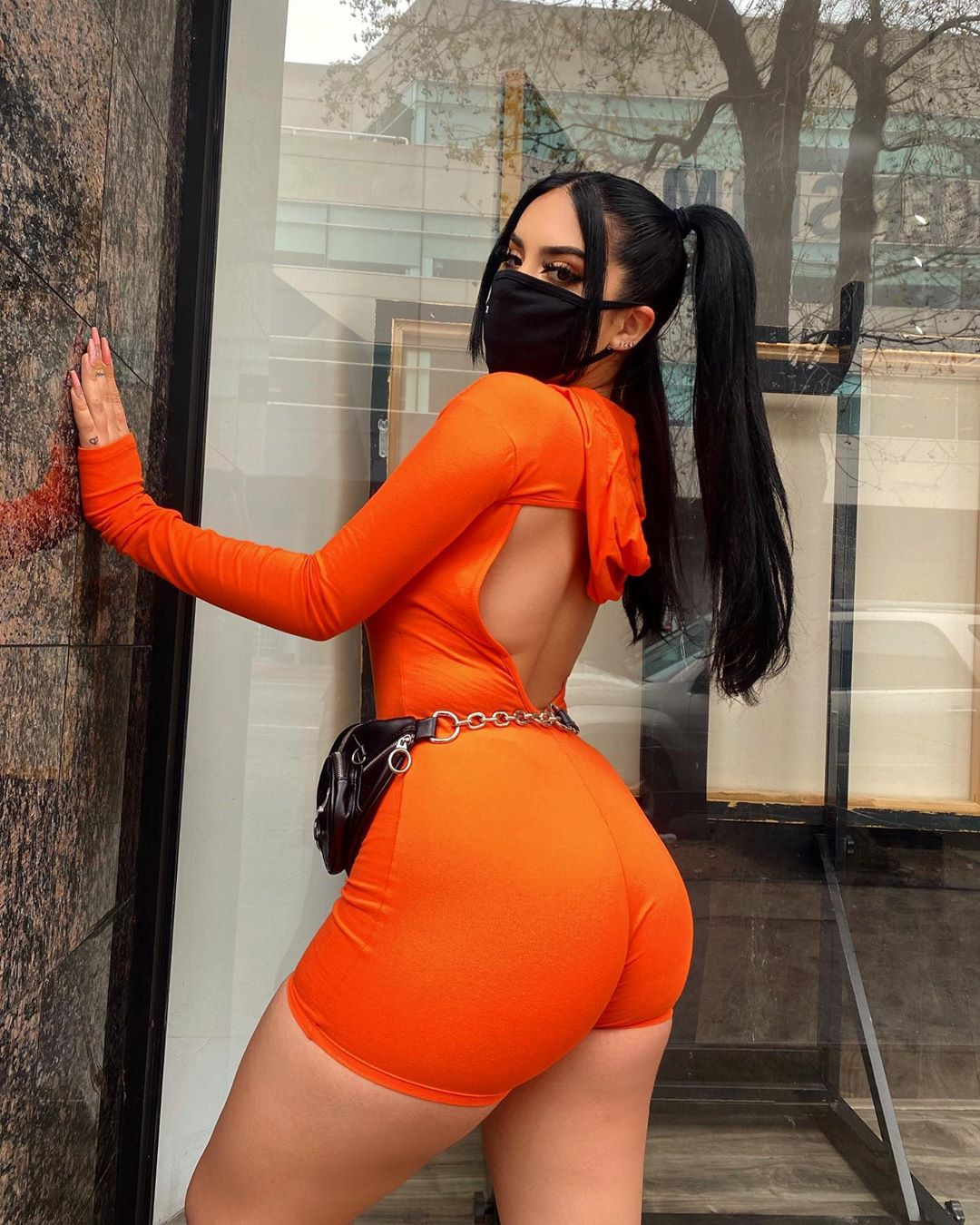 orange sexy photo in lingerie, female thighs, hot legs