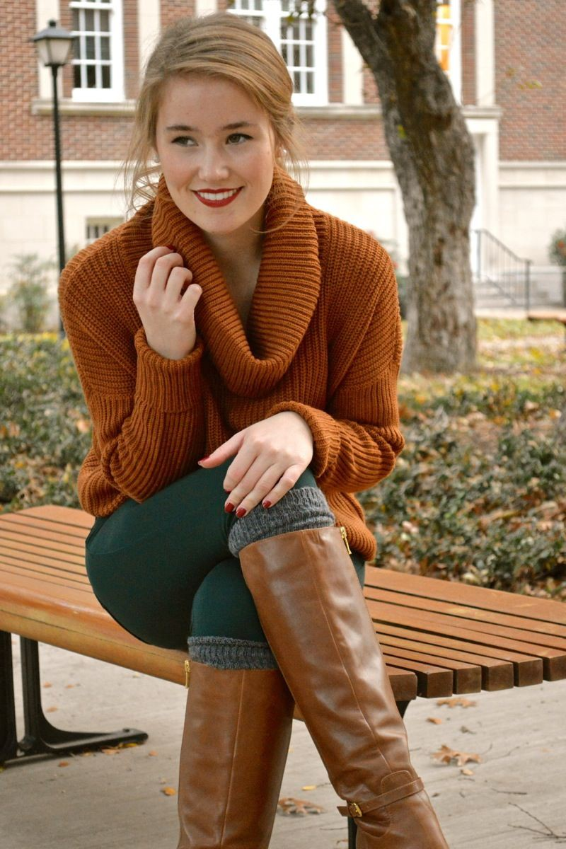 Orange sweater with brown boots