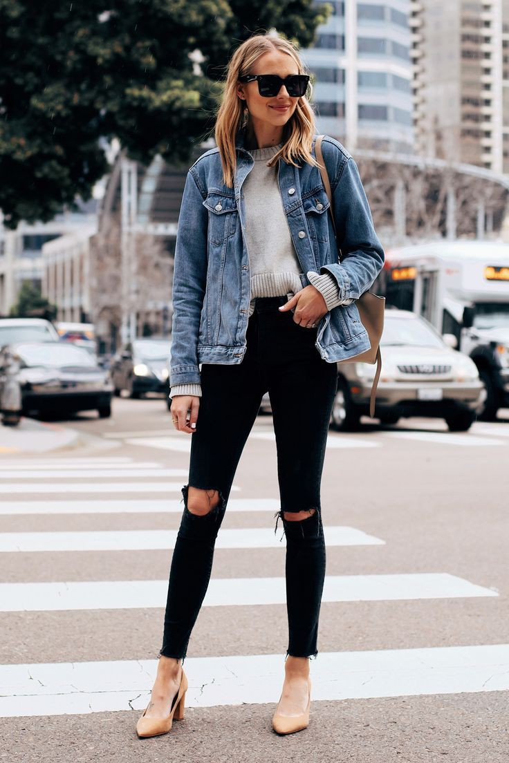 Sweater and oversized denim jacket