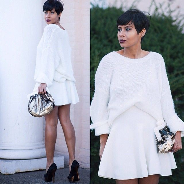 Black and white colour dress with sweater