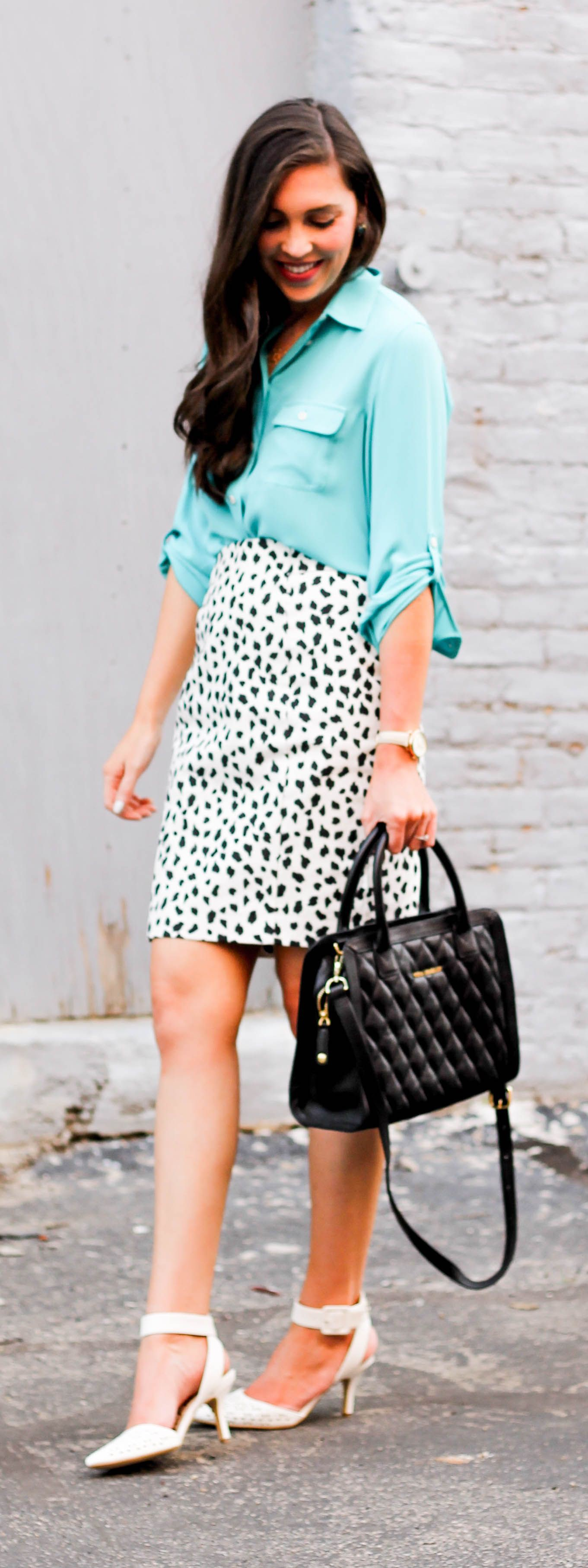 Turquoise and white outfit Stylevore with pencil skirt, polka dot, shorts