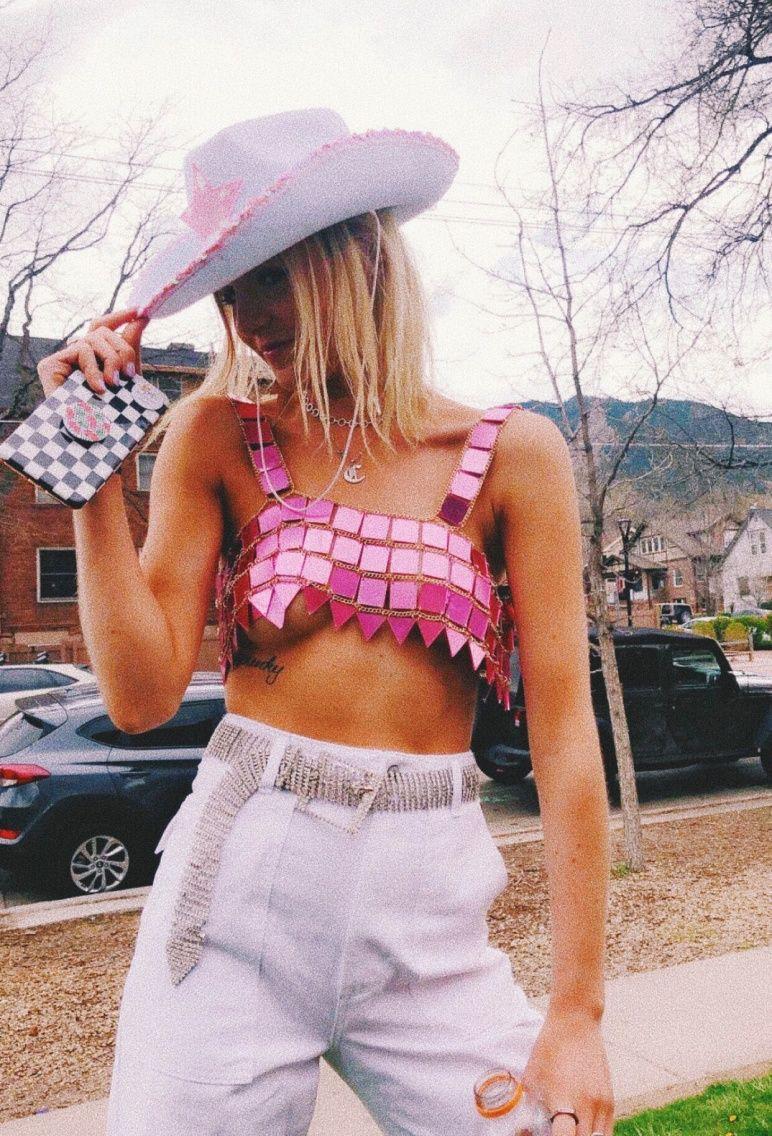 pink matching dress with crop top, shorts, shirt
