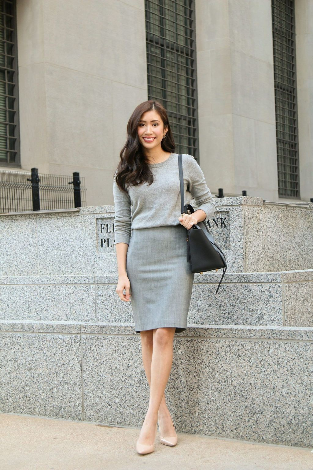 Beige and white colour outfit, you must try with business casual, pencil skirt, trousers, workwear