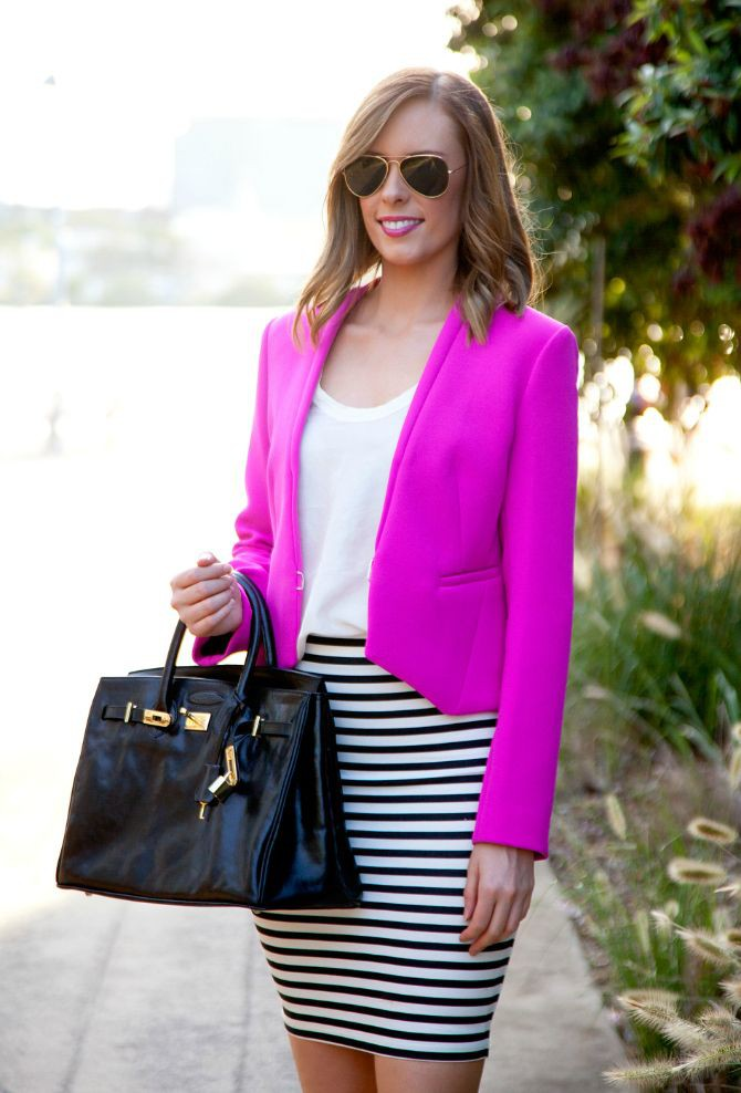 Magenta and purple trendy clothing ideas with miniskirt, crop top, jacket