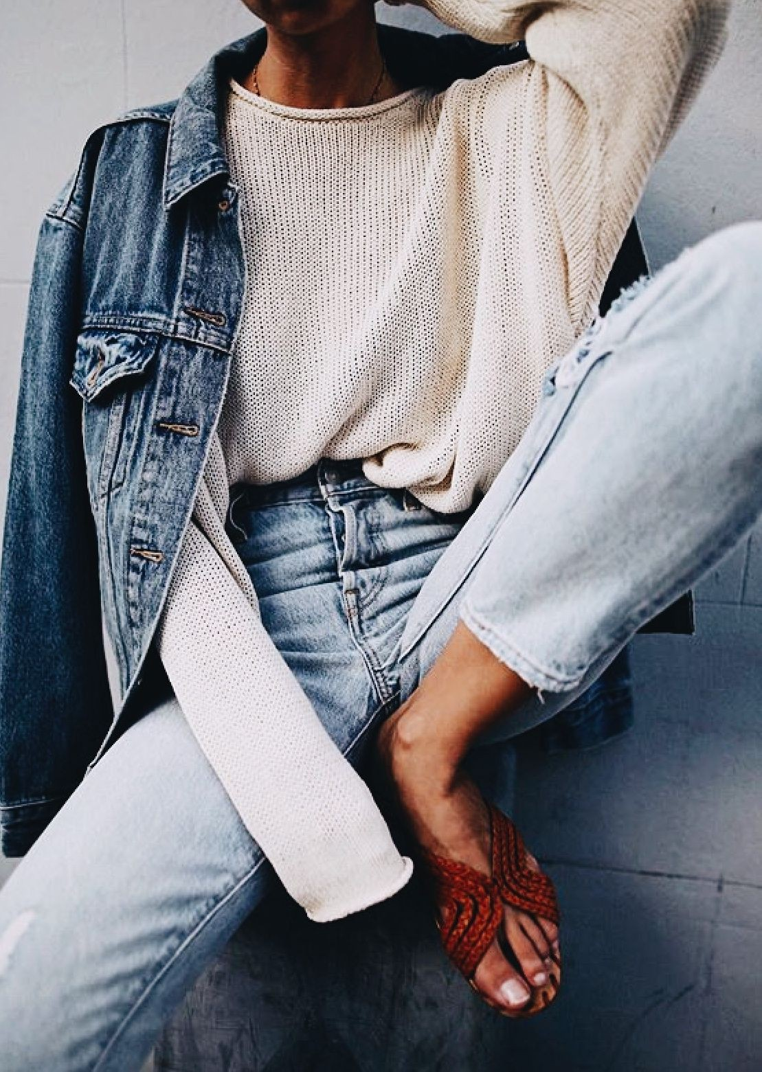 Clothing ideas with jean jacket, trousers, jacket