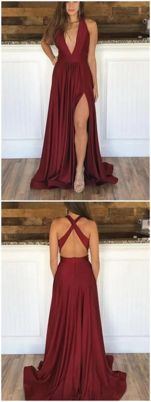 Wine colored prom dresses, backless dress, cocktail dress, evening gown, formal wear, a line