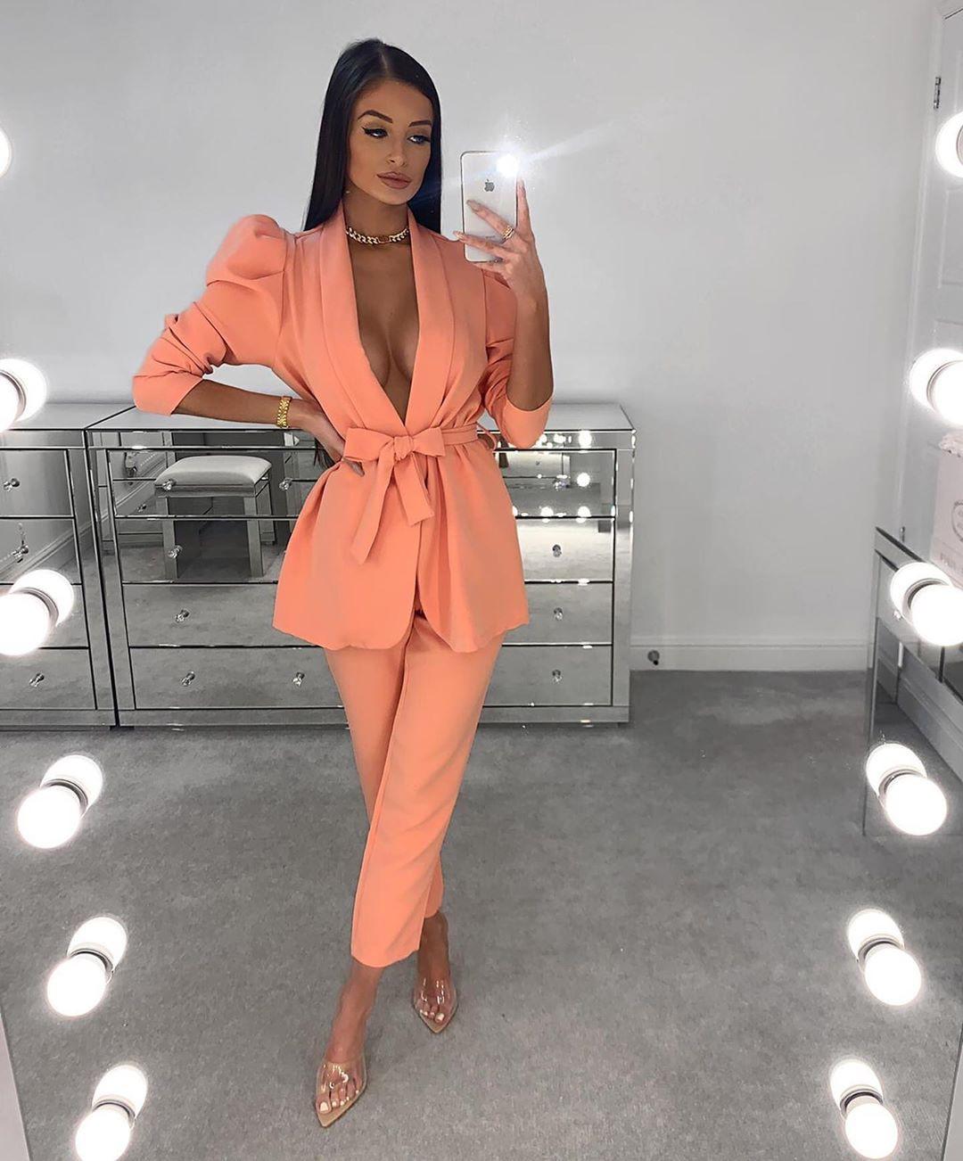 Orange and pink formal wear, pantsuit, fine legs