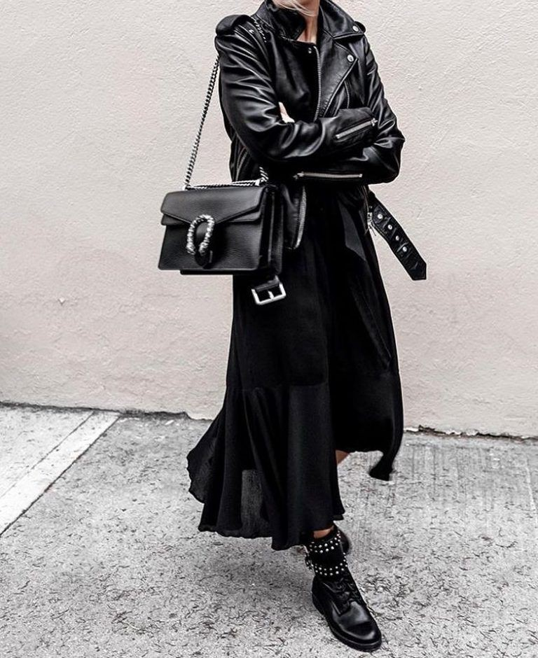 Colour ideas black outfits ideas, leather jacket, street fashion, trench coat
