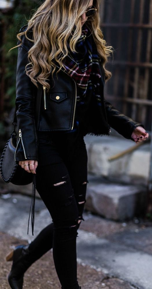 Cute all black winter outfits