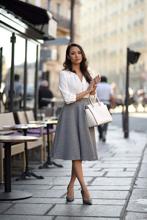 White colour outfit with black and white, street fashion