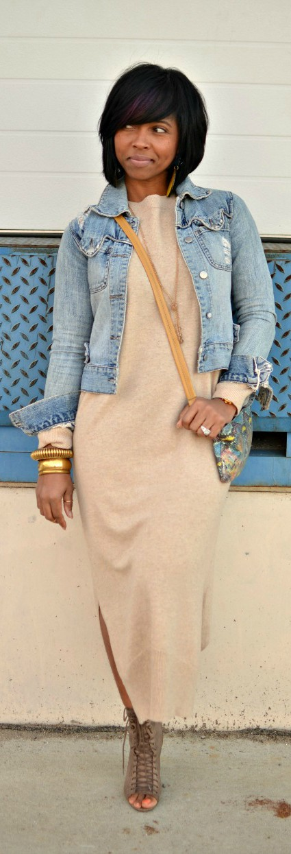 Sweater dress and jean jacket