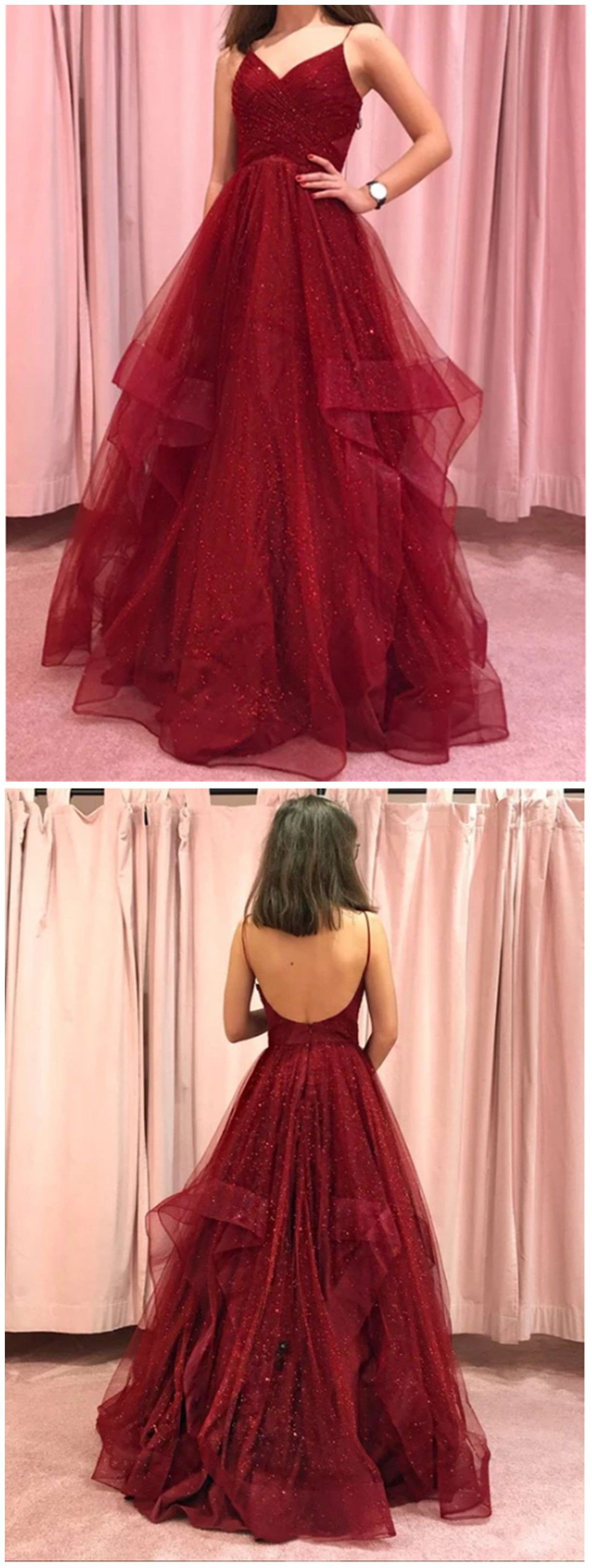 Pink and red outfit Stylevore with bridal party dress, strapless dress, backless dress, formal w ...