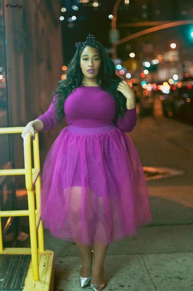 Outfit style purple tulle skirt plus size clothing, plus size model