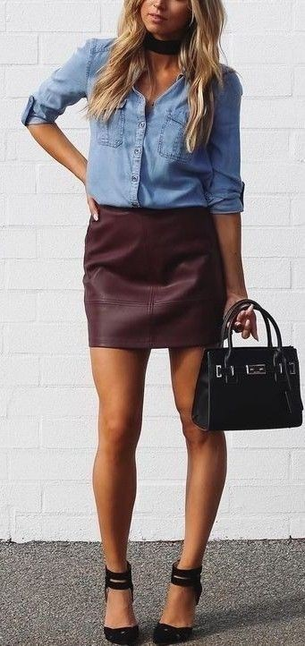 Maroon shirt and denim skirt outfits