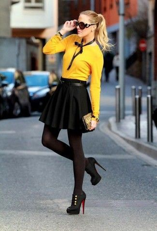 Yellow and black outfit high heeled shoe, street fashion